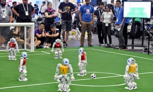 Artificial intelligence programmed robots play football during the RoboCup 2017 in Nagoya, Japan.