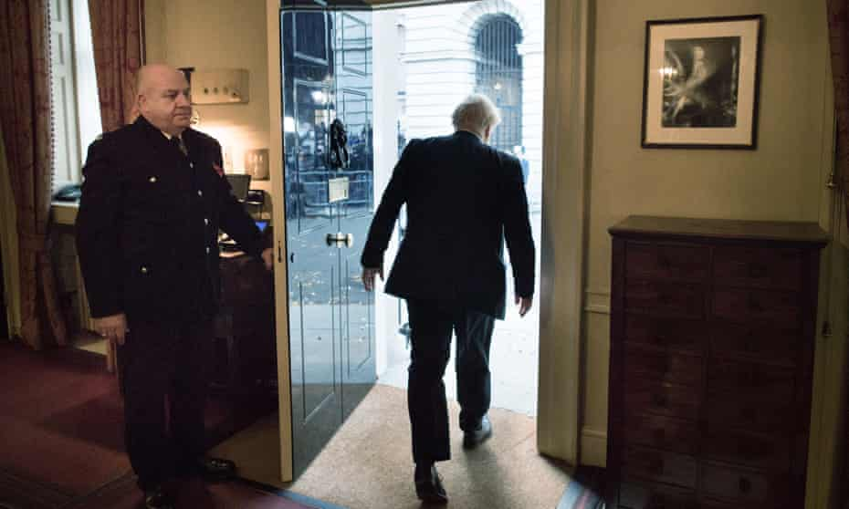 Boris Johnson leaves 10 Downing Street for Buckingham Palace to ask the Queen to dissolve parliament.