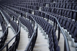 Parts of the stands have railings between the seats in preparation for when safe-standing is permitted