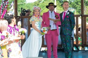 Watney and Adey at their wedding celebration at this year's Glastonbury festival.