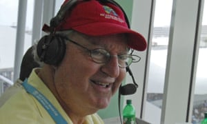 Tony Cozier at Kensington Oval, Barbados, during the 2007 Cricket World Cup.