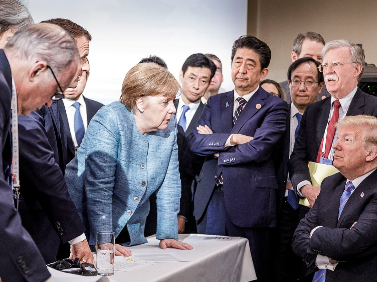 Merkel's G7 photo says everything about Trump's diplomacy – or does it? |  World news | The Guardian