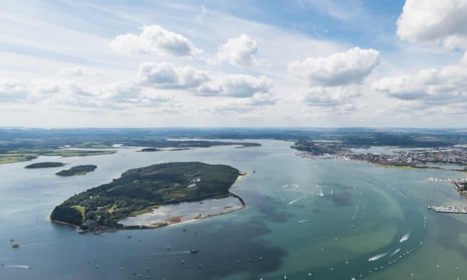 An aerial view of Poole Harbour – the second biggest natural harbour in the world after Sydney – and Brownsea Island.