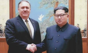 North Korean leader Kim Jong-un shakes hands with the former CIA director, now secretary of state, Mike Pompeo in Pyongyang.