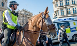 Mounted Met Police officer in the West End, London
