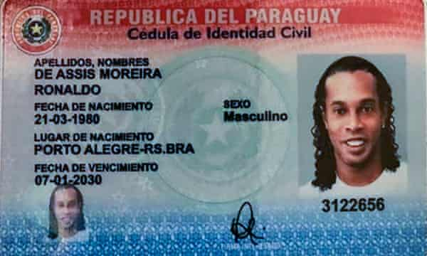 An ID card shared by Paraguayan authorities, which appears to bear Ronaldinho's full name and photograph.