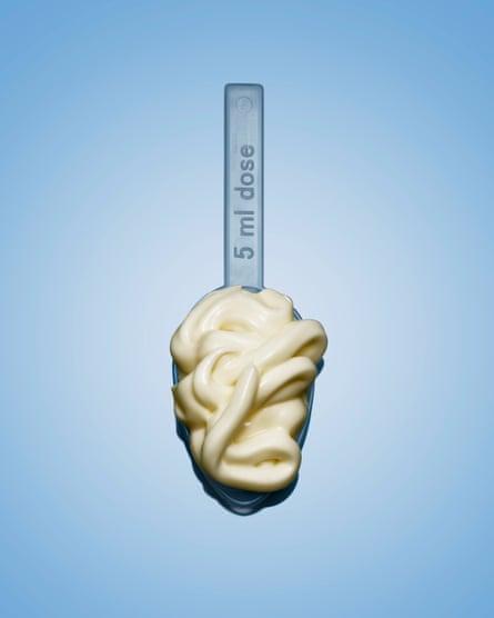 Mayonnaise on a medicine spoon