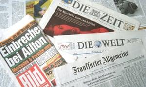 German newspapers including Bild, Die Zeit, Die Welt and Frankfurter Allgemeine