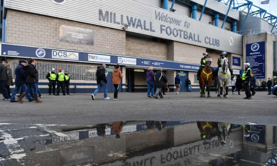 General view outside the Den prior to the FA Cup fourth-round match between Millwall and Everton.