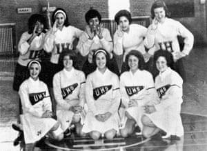 Margot (back row, centre) as co-captain of her high-school cheerleading team, 1964.