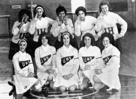 Margot (back row, centre) as co-captain of her high-school cheerleading team, 1964.