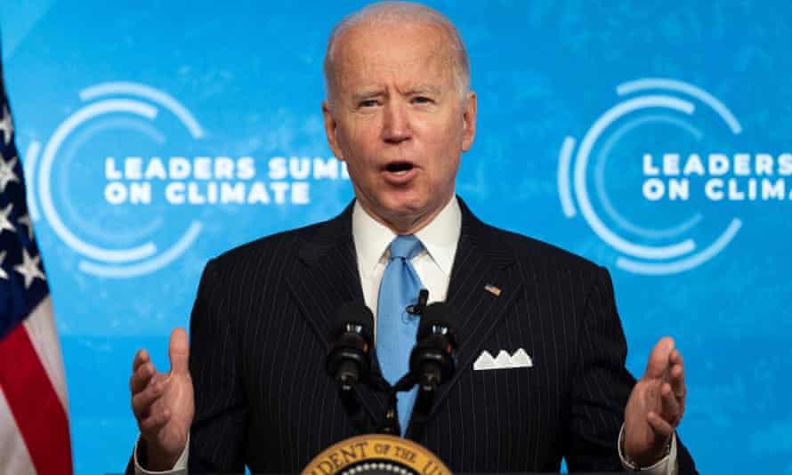 Joe Biden hosts a virtual leaders summit on climate in April 2021.