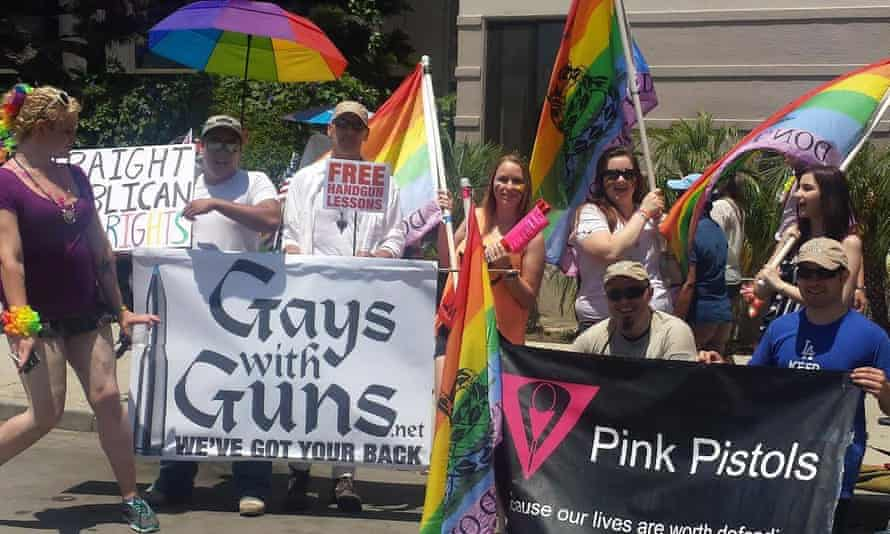 Two gay pro-gun groups at Long Beach Pride 2014. Gays With Guns - We've Got Your Back and Pink Pistols