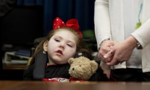 Haleigh Cox, five, who suffers from seizures, attends the session of the Georgia house of representatives that approved medical use of cannabis oil last month.