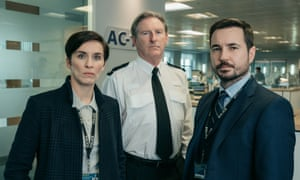 Vicky McClure, Adrian Dunbar and Martin Compston as DI Fleming, Supt Hastings and DS Arnott.