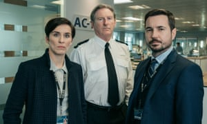 Dunbar with Line of Duty co-stars Vicky McClure and Martin Compston.