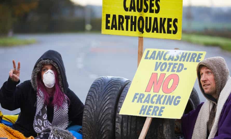 Protesters outside Cuadrilla's Preston New Road fracking site in Little Plumpton near Blackpool in October.