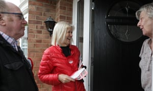 The Labour leader of Redcar and Cleveland borough council, Sue Jeffrey canvasses for the local elections.