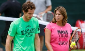 2015: Andy Murray during a training session with his coach Amelie Mauresmo at Wimbledon