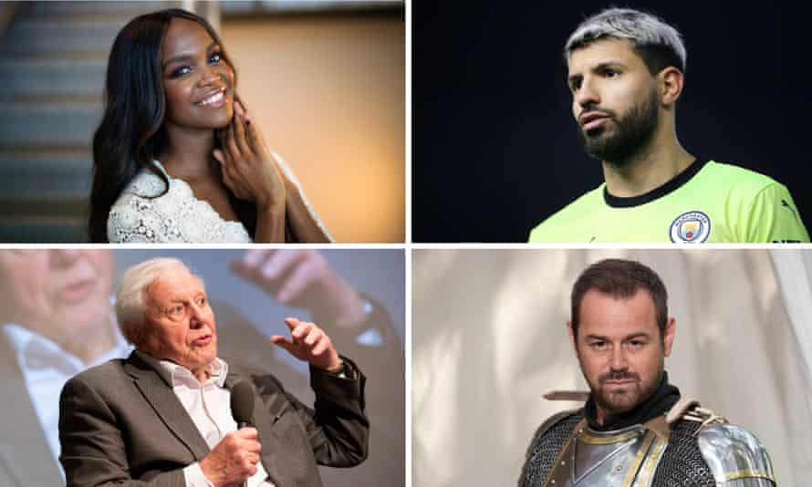 Clockwise from top left: Oti Mabuse, Sergio Agüero, Danny Dyer and Sir David Attenborough