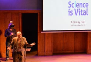 """Mark Miodownik rallies the crowd at Conway Hall for the """"Science: as vital as ever"""" event"""