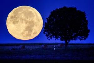 The full moon sets behind a hill near Wehrheim, Germany
