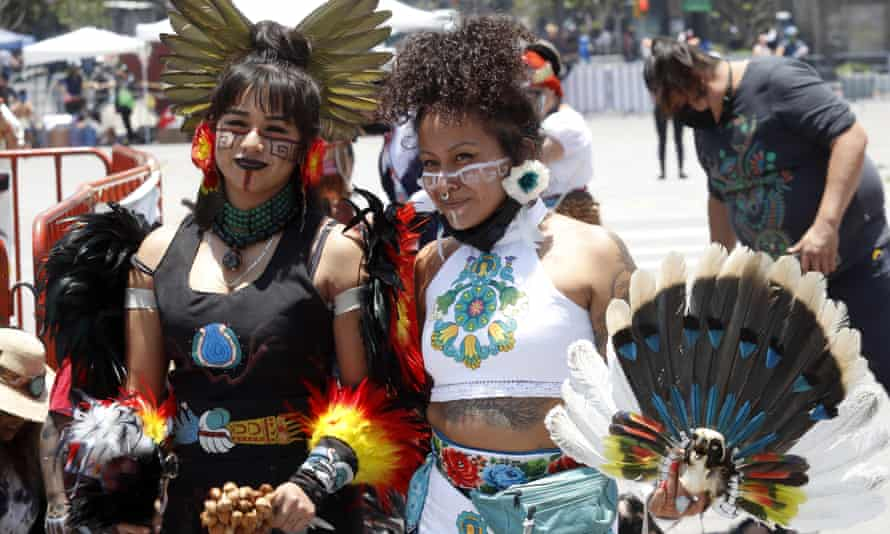 Dancers celebrate the anniversary of the founding of Tenochtitlán, the Mexica capital, on 26 July.