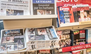 French newspapers and magazines illustrating the terror attacks in a church in Saint-Etienne-du-Rouvray.
