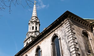 The clock tower of St Giles-in-the-Fields church.