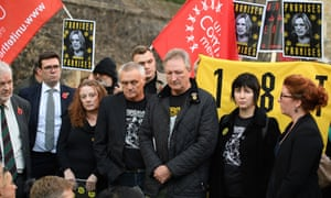 Disappointed Orgreave campaigners gather after the government rejected their call for an inquiry