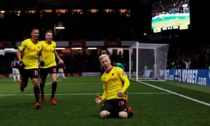 Will Hughes scores the opening goal against West Ham on his first home league start for Watford.