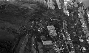 Path of the collapsed Aberfan coal pit spoil, 1966.
