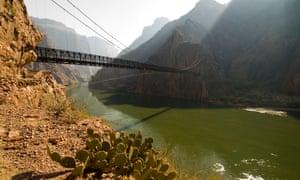 The footbridge at Phantom Ranch, Grand Canyon.