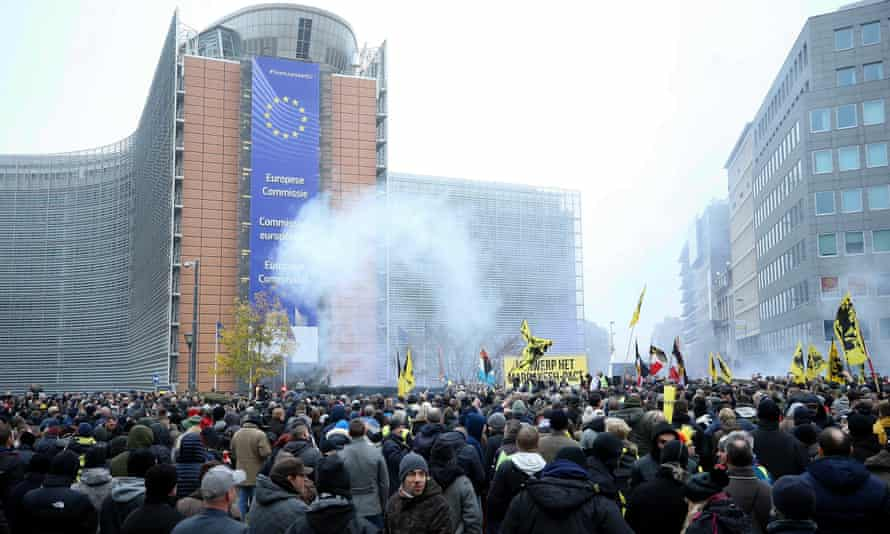 Belgian police use teargas on the protesters in Brussels.