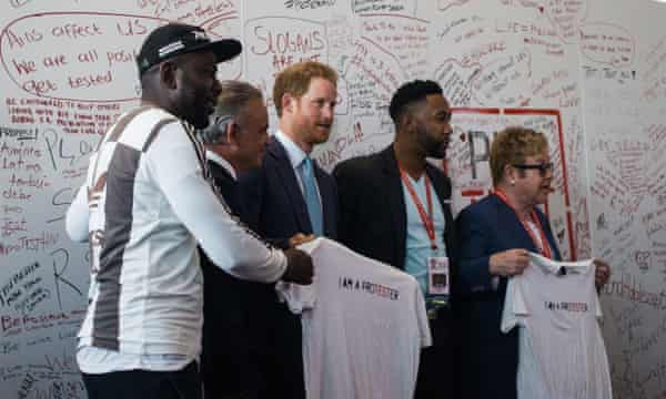 Prince Harry and Elton John with two of Nelson Mandela's grandchildren at the 2016 International Aids conference in Durban, South Africa.