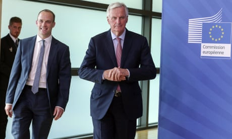 Barnier welcomes Raab by stressing urgency of Irish border deadline