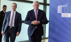 Michel Barnier with Dominic Raab in Brussels