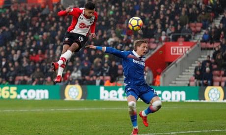 Southampton's Soufiane Boufal left to hold his head as Stoke escape