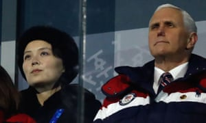 Mike Pence, the US vice-president, and Kim Yo-jong, at the opening ceremony of the Winter Olympics.