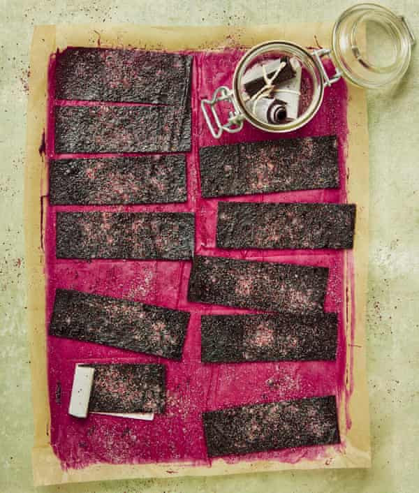 Yotam Ottolenghi's berry leather with sumac sugar.