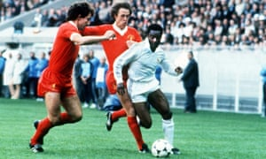 Laurie Cunningham whizzes past Graeme Souness and Phil Neal in 1981.