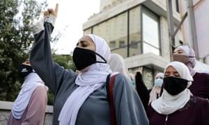 Women in Jordan protest against Macron