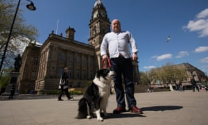Matthew Wright with his dog Dolly in Bolton.