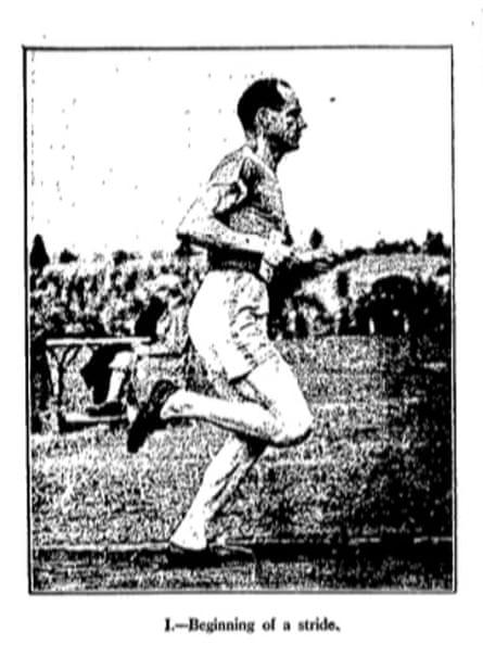 (I) Nurmi beginning the stride (Manchester Guardian, 7 May 1930).
