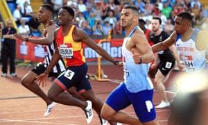 Ojie Edoburun wins the men's 100m.