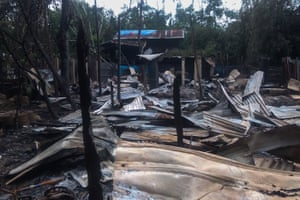 The debris of houses burnt by Rohingya militants are seen in Maungdaw township in Rakhine State in Myanmar on August 28, 2017