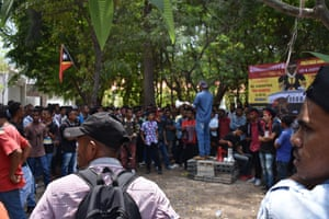 A demonstration against police brutality in the Timor Leste capital of Dili