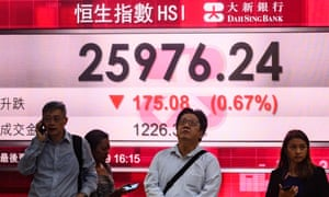 A Hong Kong stock market display on 6 August