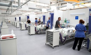 Staff prepare bays at the Nightingale hospital in Sunderland in May.