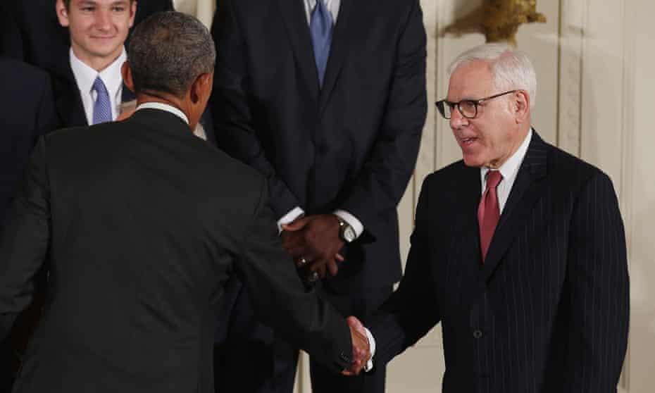 Barack Obama congratulates Rubenstein, a Duke University trustee, during an event celebrating the NCAA champion men's basketball team in 2015.